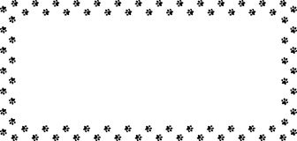 Rectangle frame made of black animal paw prints on white background. Vector illustration, template, border, framework, photo frame, poster, banner, cats or Royalty Free Stock Photo