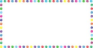 Rectangle frame made of rainbow animal paw prints on white. Rectangle frame made of multicolored rainbow animal paw prints on white background. Vector Royalty Free Stock Photo