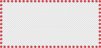 Rectangle frame made of red animal paw prints isolated. Rectangle frame made of red animal paw prints on transparent background. Vector illustration, template Royalty Free Stock Photos