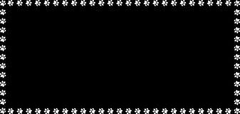 Rectangle border made of white animal paw prints on black background. Rectangle frame made of white animal paw prints on black background. Vector illustration Royalty Free Stock Image