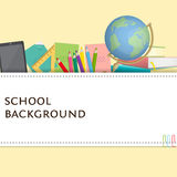 Rectangle frame surrounded with school supplies.. Vector illustration in cartoon style for business presentations Royalty Free Stock Image