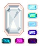 Rectangle gemstone set. No gradient, no transparency Royalty Free Stock Photos