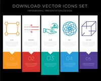 Rectangle infographics design icon vector. 5 vector icons such as Rectangle, Parallel, Cylinder, Circles, 3d cube for infographic, layout, annual report, pixel Stock Photo