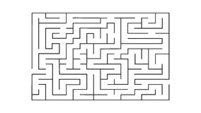 Rectangle labyrinth with entry and exit.vector game maze puzzle with solution Stock Image