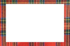 Rectangle with large frame with the texture of the famous tartan. White rectangle with large frame with the texture of the famous tartan Scottish fabric Royalty Free Stock Photos