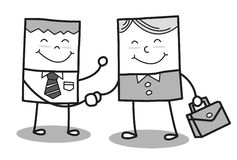 Rectangle man shaking hands and marketing stock images
