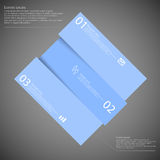 Rectangle motif askew divided to three blue parts on dark Royalty Free Stock Images