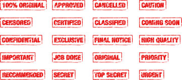 Rectangle office stamps. Set of office stamps in vintage look Royalty Free Stock Photos