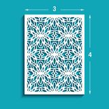 Rectangle panel with cutout lace pattern. Rectangle panel with lace pattern, lattice ornament, template for laser cutting or wood carving, cutout paper design Royalty Free Stock Photography