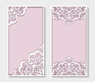 Rectangle panels with cutout lace pattern. Elegant panels with lace pattern, rectangle frames for laser cutting or wood carving, cutout paperwork templates royalty free illustration
