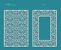 Rectangle panels with cutout lace pattern. Elegant panels with lace pattern, lattice ornament and rectangle frame for laser cutting or wood carving, cutout paper Royalty Free Stock Image