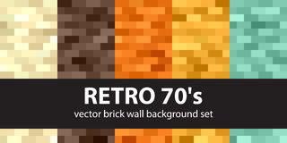 Rectangle pattern set Retro 70s. Vector seamless brick wall back. Grounds with beige, brown, orange, yellow, green rectangles Royalty Free Stock Photos