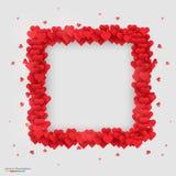 Rectangle photo frame made of many hearts Royalty Free Stock Photo