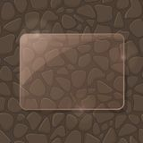 Rectangle Piece of Glass Framework on Stone Wall Royalty Free Stock Images