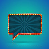 Rectangle retro light banner with light bulbs on the contour. Royalty Free Stock Images
