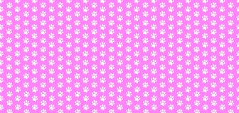 Rectangle seamless baby pattern of white animal paw prints on pink background. Vector illustration, template, poster, banner, cats or dogs paw walking track Stock Photos