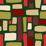 Rectangle shapes hand drawn abstract seamless vector pattern. Red, beige, green blocks on green background. Hand drawn background royalty free illustration