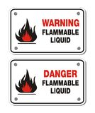 Rectangle signs - warning and danger flammable liquid Stock Image