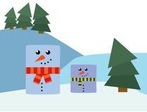 Rectangle snowmen Royalty Free Stock Photography