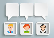 3 Rectangle Speech Balloons Frames Humans. Infograph with 3 speech balloons, 3 frames and humans on the gray background Stock Images