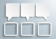 3 Rectangle Speech Balloons Frames. Infograph with 3 speech balloons and 3 frames on the gray background Royalty Free Stock Image