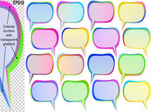 Rectangle Speech Bubble Text Balloon Tip Banner Sticker Icon Set. Speech bubbles with copy space; Banners from text balloons with transparent overlapping colored Royalty Free Stock Photos