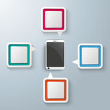 Rectangle Speech Bubbles Centre Smartphone. Four colorful speech bubbles with a smartphone centre on the gray background Royalty Free Stock Images