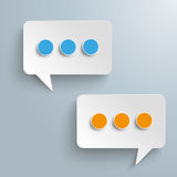2 Rectangle Speech Bubbles Messenger Blue Orange. White paper speech bubbles on the gray background Royalty Free Illustration