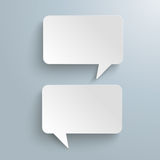2 Rectangle Speech Bubbles Messenger. White paper speech bubbles on the gray background royalty free illustration