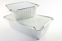 Rectangle and Square Catering Trays. One rectangle and one square catering trays on a white background Stock Images