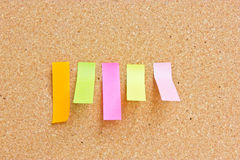 Rectangle sticky reminder notes. Rectangle sticky reminder notes on cork board Stock Image