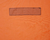 Rectangle Stitched in Vinyl. Rectangle stitched on a heavy orange vinyl fabric Royalty Free Stock Image