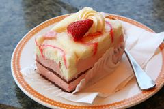 Rectangle strawberry cake Stock Photo