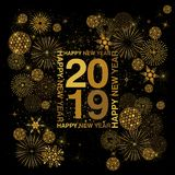 Rectangle typography frame with Happy New Year lettering around 2019 numerals in gold on a black background. With abstract snowflakes fireworks and disco balls royalty free illustration
