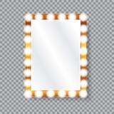 Rectangle vanity mirror with light bulbs vector illustration
