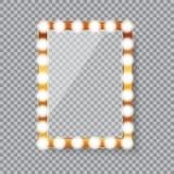 Rectangle vanity mirror with light bulbs stock illustration