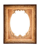 Rectangle wooden frame. Gold museum frame Stock Photo