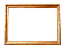 Rectangle wooden frame. Gold museum frame Royalty Free Stock Image