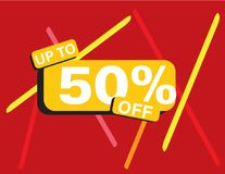 Up to 50 percent off sale banner. Rectangle Yellow black, Red background, colorful lines, white text Royalty Free Stock Photos