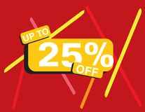 Up to 25 percent off sale banner. Rectangle Yellow black, Red background, colorful lines, white text Royalty Free Stock Photo