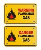 Rectangle yellow signs - warning and danger flammable gas Stock Images