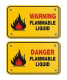 Rectangle yellow signs - warning and danger flammable liquid Royalty Free Stock Photo