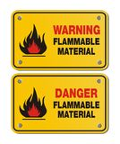 Rectangle yellow signs - warning and danger flammable material Stock Photo