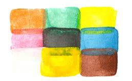 Rectangles abstraits d'aquarelle d'isolement sur le blanc photo libre de droits