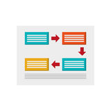 Rectangles and arrows diagram icon. Flat design rectangles and arrows diagram icon illustration Royalty Free Illustration