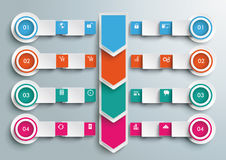 Rectangles Banners Circles Arrows Big Infographic. Connected rectangles with circles and arrows on the grey background Royalty Free Illustration