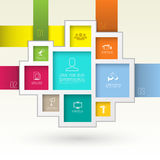 Rectangles group template with icons. Royalty Free Stock Image