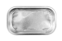 Rectangular Aluminum Foil Tray top view isolated on white background. An Empty Rectangular Aluminum Foil Tray for food top view isolated on white background royalty free stock photography