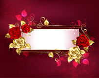 Rectangular banner with red roses. Rectangular, long banner with gold, red roses and golden leaves on a red textured background. Design with roses. Golden Rose Royalty Free Stock Images