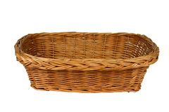 Rectangular basket with clipping path. Rectangular woven basket with clipping path Royalty Free Stock Photo